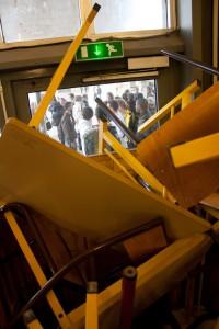 Blocage bâtiment de droit, université de Caen, contre la réforme des retraite - 2011